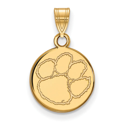 SS w/GP Clemson University Small Disc Pendant