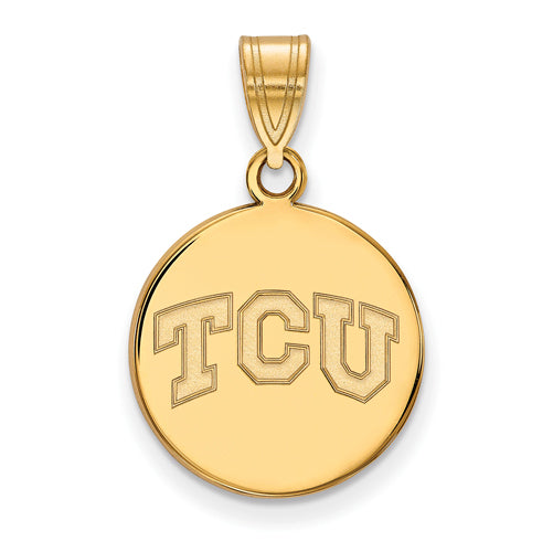 SS w/GP Texas Christian University Medium TCU Disc Pendant