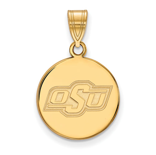 SS w/GP Oklahoma State University Medium Disc Pendant