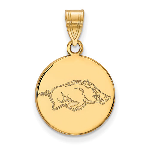 SS w/GP University of Arkansas Medium Disc Pendant