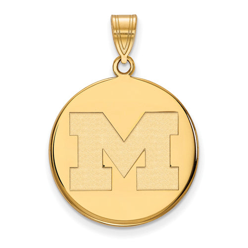 SS w/GP University of Michigan Large Disc Pendant