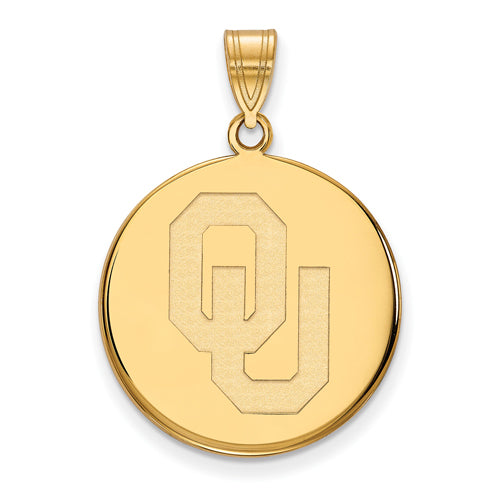 SS w/GP University of Oklahoma Large Disc Pendant