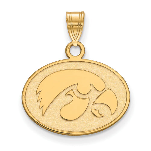SS w/GP University of Iowa Small Hawkeye Disc Pendant