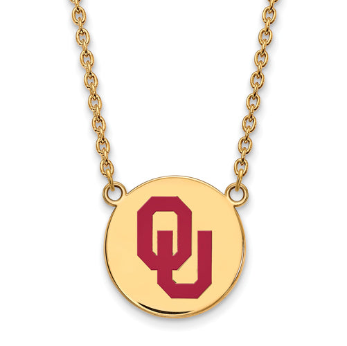 SS w/GP Oklahoma Large Enamel Disc Pendant w/Necklace