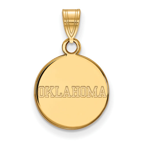 "SS w/GP University of Oklahoma Small ""OKLAHOMA"" Disc Pendant"