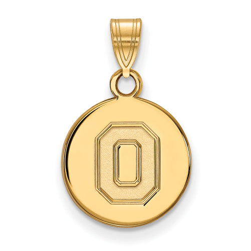 "SS w/GP Ohio State U Small Athletic ""O"" Disc Pendant"