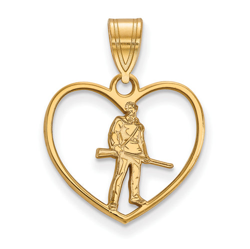 SS w/GP West Virginia University in Heart Mountaineer Pendant