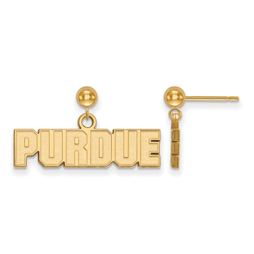 SS w/GP Purdue Earrings Dangle Ball