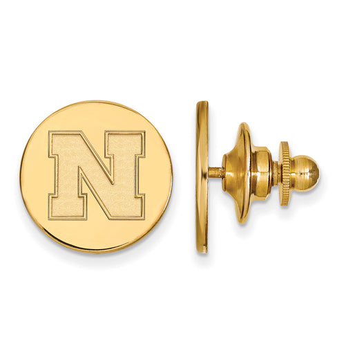SS w/GP University of Nebraska Disc Lapel Pin