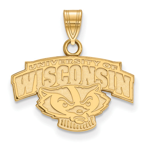 "SS w/GP University of Wisconsin Small Alt ""WISCONSIN"" Badger Pendant"