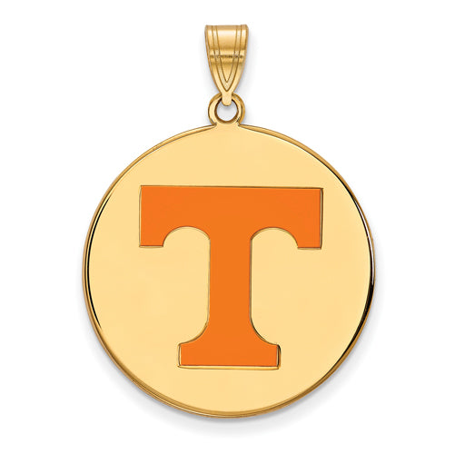 SS w/GP University of Tennessee XL Enamel Volunteers Disc Pendant