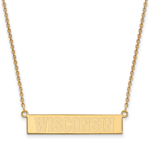 "SS GP University of Wisconsin Small ""WISCONSIN"" Bar Necklace"