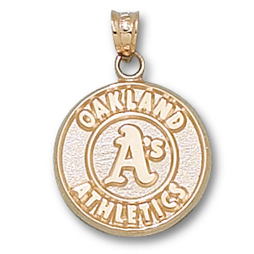 Oakland Athletics Round Logo 10 kt Gold Pendant
