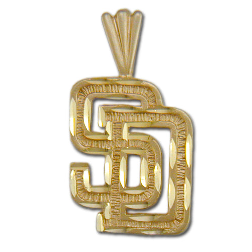 San Diego Padres SD logo 14 kt Gold Pendant