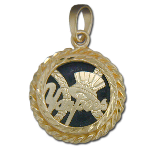 New York Yankees with HAT 14 kt Gold Pendant