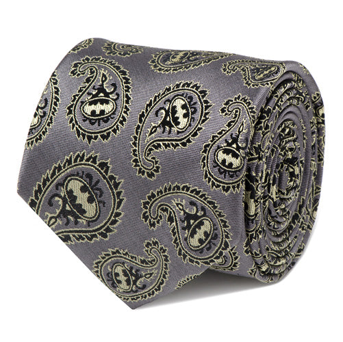 Batman Gray and Yellow Paisley Tie