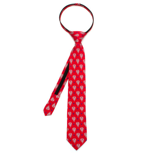 Beauty and the Beast Dot Red Boys' Zipper Silk Tie