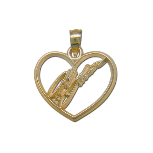 #24 NASCAR Driver Jeff Gordon Signature Heart 14 kt gold Pendant