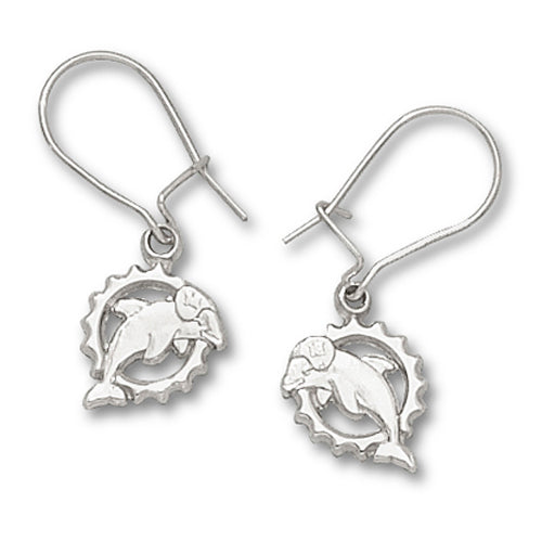 Miami Dolphins Logo Pierced Earrings