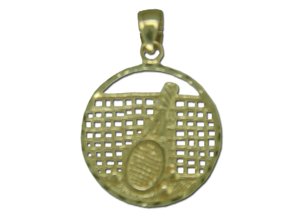 Tennis Racket and Net 14 kt Gold Pendant