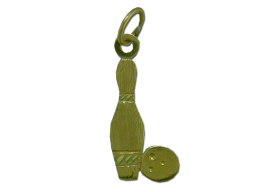 Bowling Pin and Ball 14 kt gold Pendant