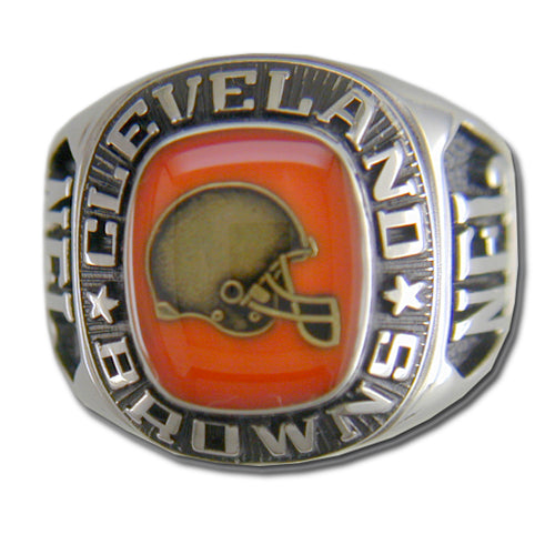Cleveland Browns Large Classic Silvertone Ring
