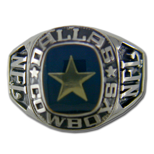 Dallas Cowboys Large Classic Silvertone NFL Ring
