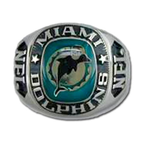 Miami Dolphins Large Classic Silvertone NFL Ring