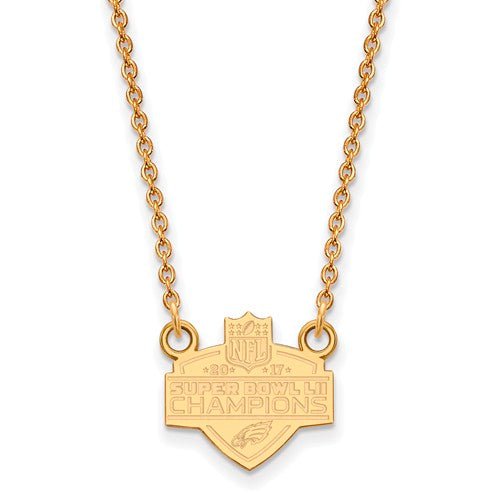Gold Plated SS Large Phila Eagles Super Bowl LII Champions Necklace