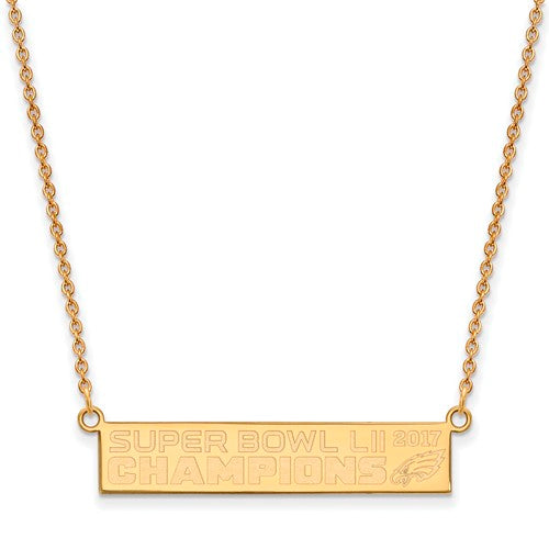 Gold Plated SS Large Phila Eagles Super Bowl LII Champions Small Bar Necklace