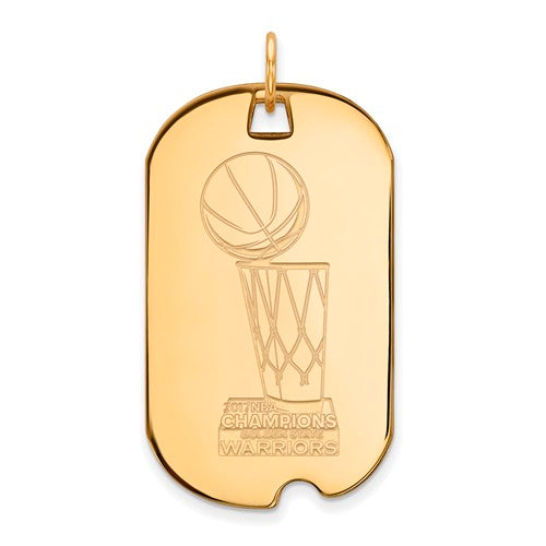 SS GP LogoArt 2017 NBA Championship Warriors Large Dog Tag