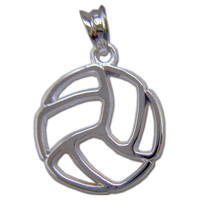 Large Pierced Volleyball Sterling Silver Pendant