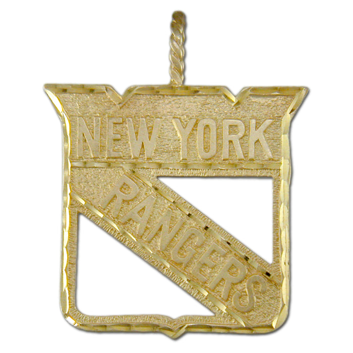 NY Rangers Shield Logo 14 kt Gold Large Pendant
