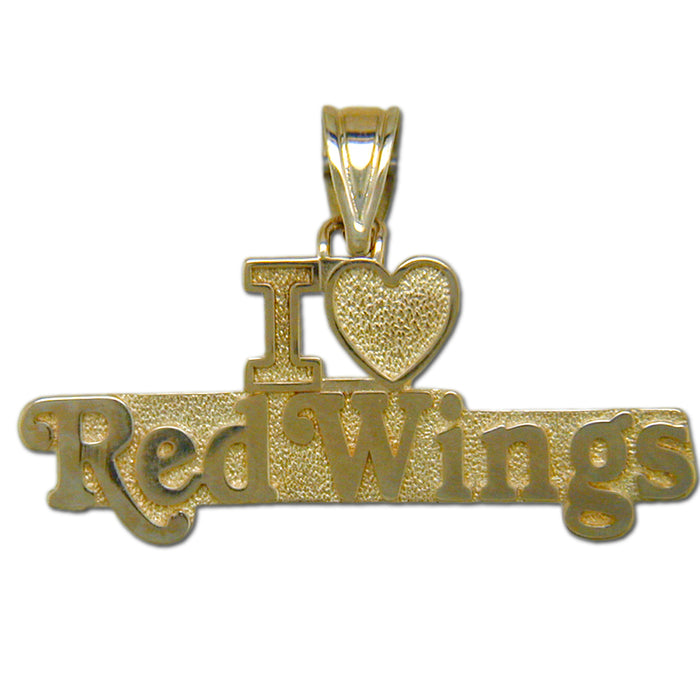 Detroit Red Wings I Love Red Wings 14 kt Gold Pendant