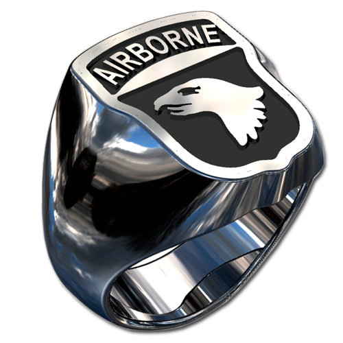 Army Ring - 101st Airborne Division Badge Ring with black enamel