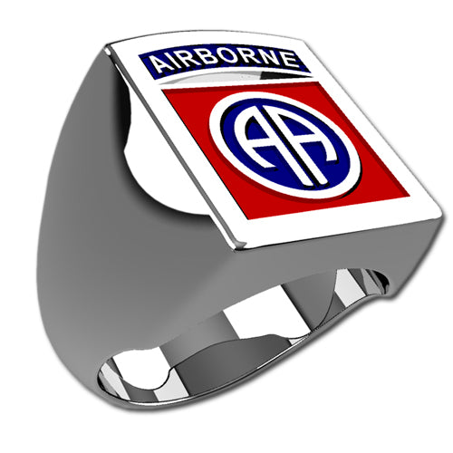 Army Ring - 82nd Airborne Division Badge Ring with enamel