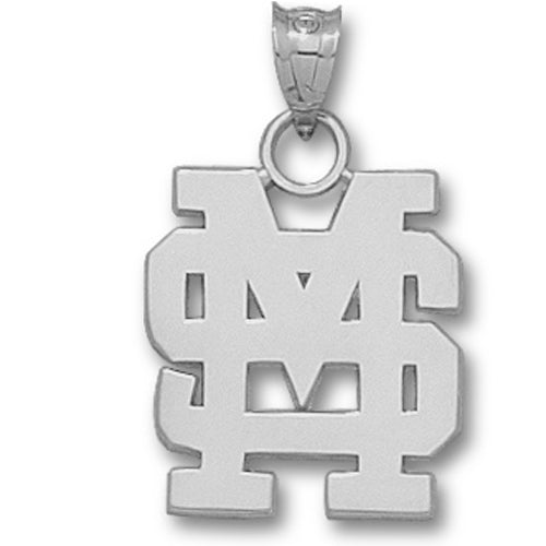 Mississippi State University INTERLOCKING MS Silver Pendant