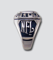 Philadelphia Eagles Large Classic Silvertone Ring - Side Panels