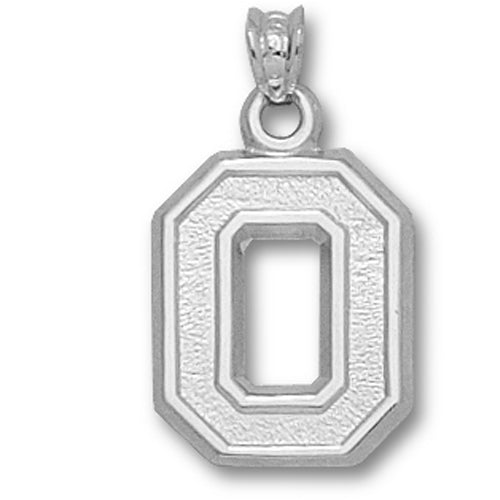 Ohio State University BLOCK O NO LEAF Silver Small Pendant