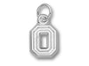 Ohio State University BLOCK O NO LEAF Silver XS Pendant