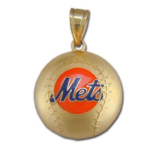 New York Mets Baseball with enamel 14 kt Gold Pendant