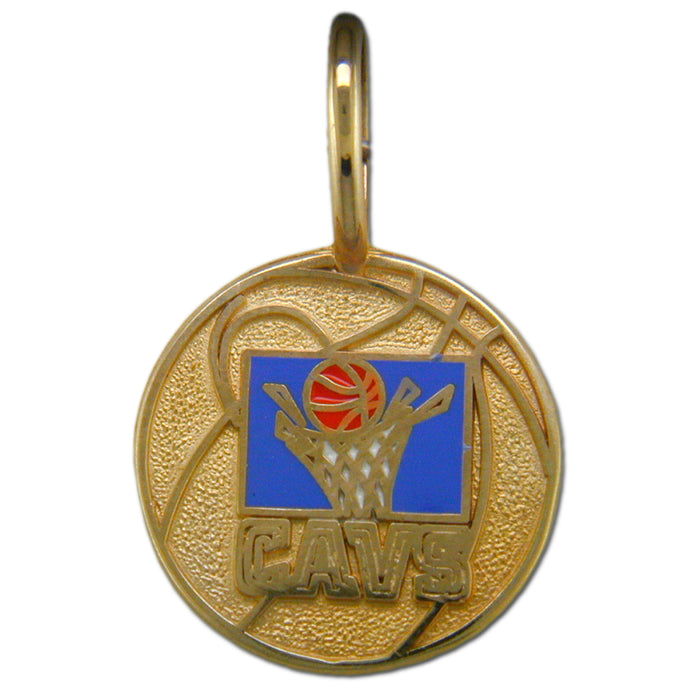 Cleveland Cavaliers Logo with enamel 14 kt Gold Pendant