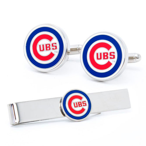 Chicago Cubs Cufflinks and Tie Bar Gift Set