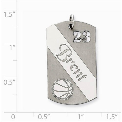 Sterling Silver Personalizable Basketball Dogtag Charm