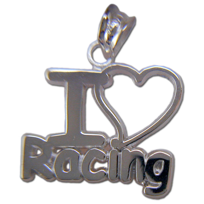 I LOVE RACING Sterling Silver Pendant