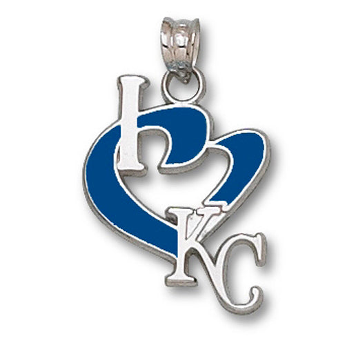 Kansas City Royals I Heart Logo with enamel Large Pendant