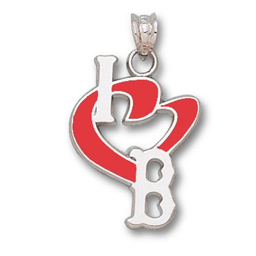 Boston Red Sox I Heart B w/enamel Large Pendant
