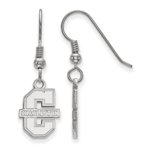 "SS College of Charleston Small C w/""CHARLESTON"" Dangle Earrings"
