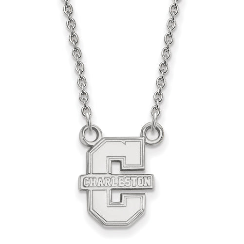 "SS College of Charleston Small C w/""CHARLESTON"" Pendant w/Necklace"