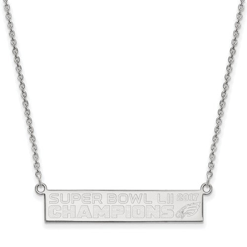 SS Phila Eagles Super Bowl LII Champions Small Bar Necklace